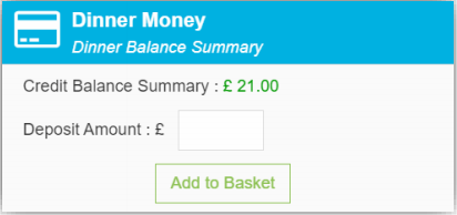 Dinner Money Widget